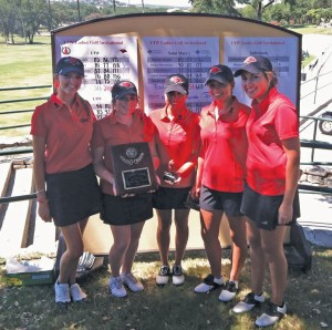 (Pictured L-R) Team members Maddy Buhler, Samantha Martinez, Flower Castillo, Jessica Cornish, and Christina French pose for a photo during the UIW Fall Invitational at The Club at Sonterra South in October. The women's team took first place at the tournament.
