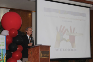Dr. Joe Frost speaks to the UIW community at the Lifelong Health, Fitness, and Learning Through Play Conference.