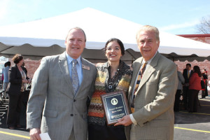 (Pictured L-R) Tom Shaw, president of the South San Antonio Chamber of Commerce; Leticia Ozuna, former councilwoman, City of San Antonio-District 3; and Dr. Louis Agnese, UIW president; share a photo at the ADCaP Pecan Valley Center Opening Celebration. During the celebration, Shaw presented Agnese with a plaque recognizing his membership with the South San Antonio Chamber of Commerce since 2004.