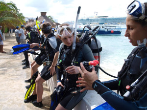 The UIW Scuba Club during pre-dive preparations before the second shore dive at Casa del Mar Reef