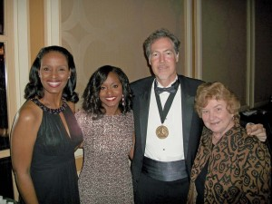 (Pictured L-R) Winell Herron, H-E-B group vice president of public affairs, diversity and environmental affairs; Jenese Shaw, Texas Business Hall of Fame scholarship recipient; Craig Boyan, H-E-B president and COO; and  Sr. Kathleen Coughlin, CCVI, UIW vice president for institutional advancement; share a photo at the Texas Business Hall of Fame induction dinner.