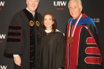 (Pictured L-R) Cornyn, Davila-Burnett, and Dr. Louis Agnese, UIW president, share a photo at spring commencement.