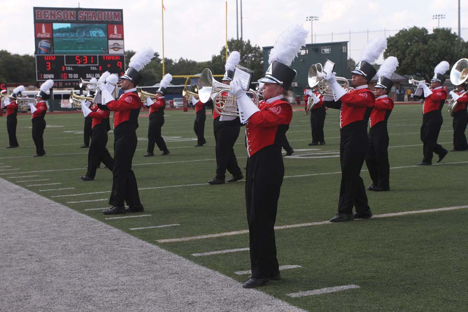 UIW's Marching Cardinals debut new uniforms at first football game