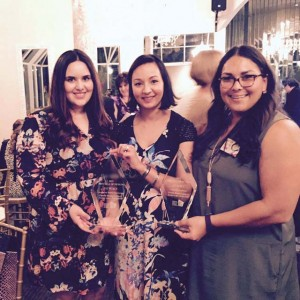 The design team who won first in Commercial Health Care design and in Historic Preservation design: (L-R) Ashley Hinojosa, and alumnae Karbach-Morales and Lopez.