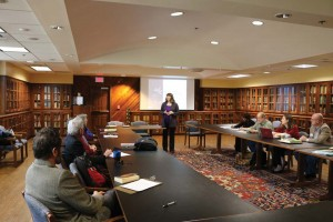 Stampfl speaks to faculty members at a Writing Academy workshop.