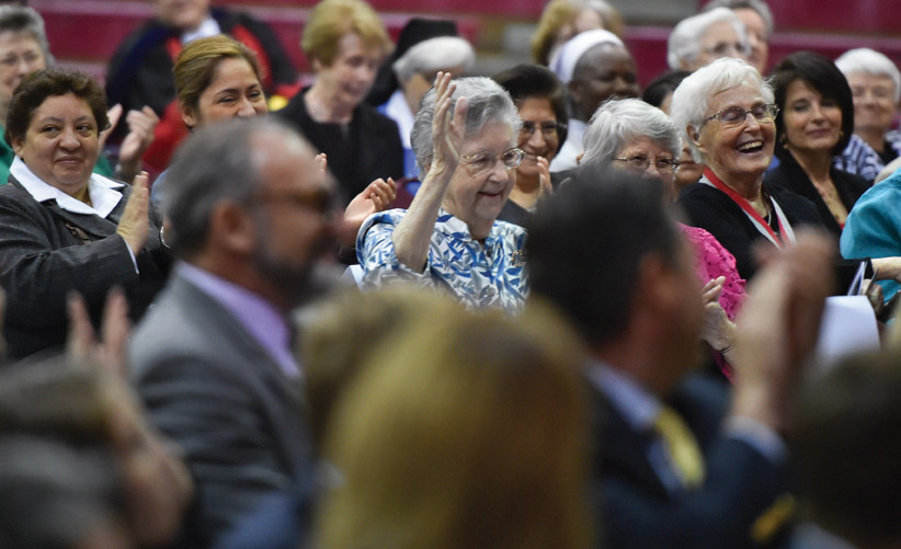 Sisters of Charity of the Incarnate Word, including Sr. Margaret Patrice Slattery, CCVI `43,former UIW chancellor and president, celebrate President Evans.