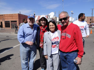 Barnes, his wife, Karin, and Sosa stand with Dolores Huerta, co-founder of United Farmworkers.